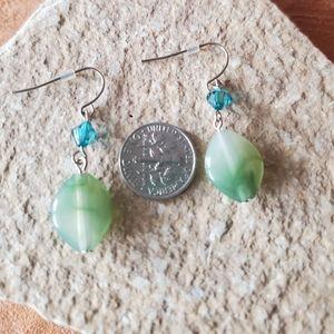Green and teal dangled earrings